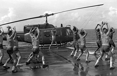 Bare-chested Photograph - Marines Doing Jumping Jacks On The Deck by Everett