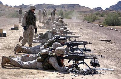 Marines Fire Their M240g Medium Machine Art Print