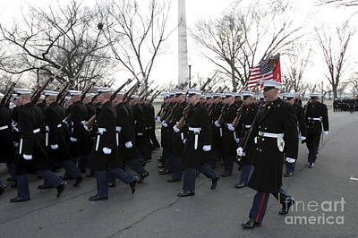 Inauguration Day Photograph - Marines Participate In The 2009 by Stocktrek Images