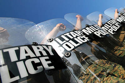 Marines Practice Riot Control Art Print by Stocktrek Images