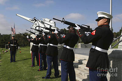 Marines Practices Drill Movements Print by Stocktrek Images
