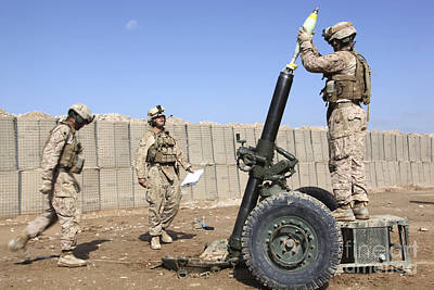 Marines Prepare To Fire A 120mm Mortar Art Print by Stocktrek Images