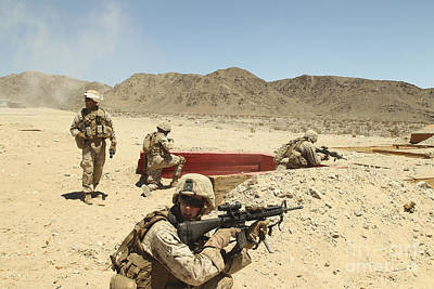 Marines Provide Supporting Fire Art Print
