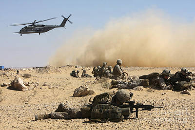 Down On The Ground Photograph - Marines Set Up Security In Egypt by Stocktrek Images