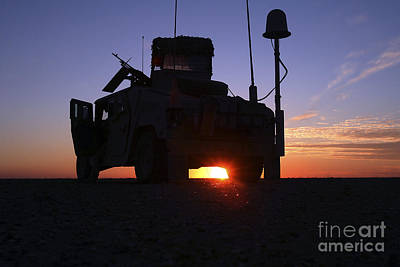 Marines Take Up A Security Position Art Print by Stocktrek Images