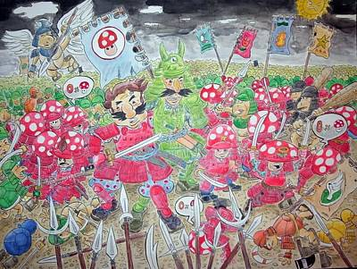 Videogames Painting - Mario Samurais by Anthony Harris
