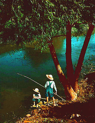 Digital Art - Marion Post Wolcott's Boys Fishing by Timothy Bulone