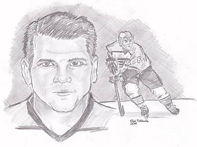 Drawing - Mark Recchi by Chris  DelVecchio