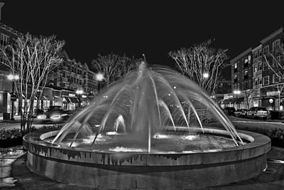 Photograph - Market Common Fountain Black And White by Bill Barber