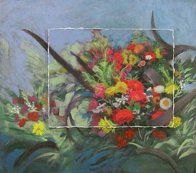 Mixed Media - Market Flowers Layered by Anita Burgermeister