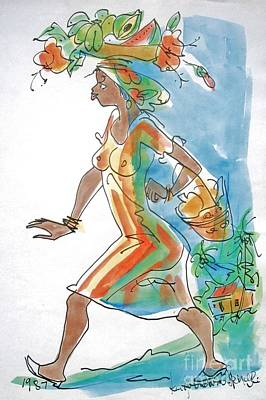 Haiti Painting - Market Lady by Carey Chen