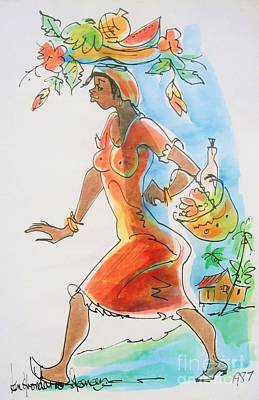 Haiti Painting - Market Woman by Carey Chen