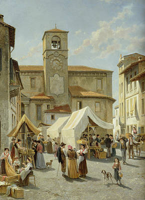 Bell Tower Painting - Marketday In Desanzano  by Jacques Carabain