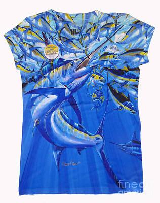Nautical Digital Art - Marlin Ladies Shirt by Carey Chen