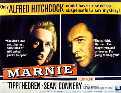 Tippi Photograph - Marnie, Tippi Hedren, Sean Connery, 1964 by Everett