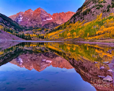 Photograph - Maroon Bells Fall Reflection by Harry Strharsky