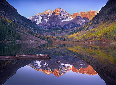 White River Photograph - Maroon Bells Reflected In Maroon Bells by Tim Fitzharris