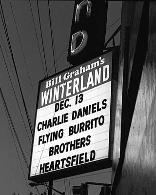 Photograph - Marquee At Winterland In Late 1975 by Ben Upham III