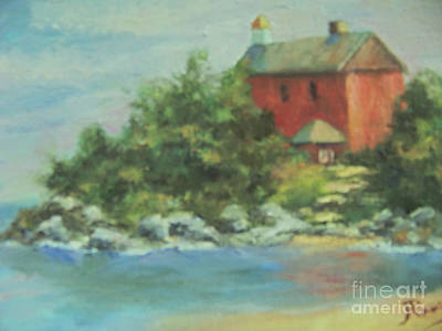 Wall Art - Painting - Marquette Harbor Lighthouse by Judy Parins