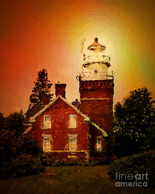 Marquette Digital Art - Marquette Michigan Lighthouse by Judy Brand