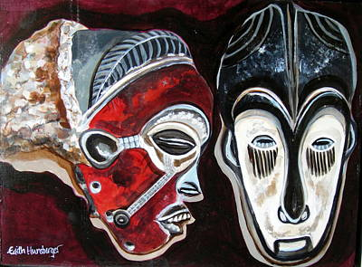Painting - Marriage Masks 1 by Edith Hunsberger