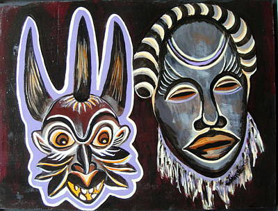 Painting - Marriage Masks 2 by Edith Hunsberger
