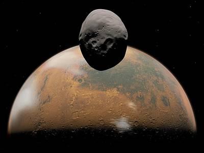Mars And Phobos, Artwork Art Print