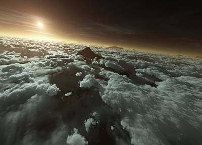Terraform Photograph - Mars With Clouds, Artwork by Detlev Van Ravenswaay