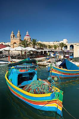 Marsaxlokk Photograph - Marsaxlokk Harbor And Church,malta by Terry Why