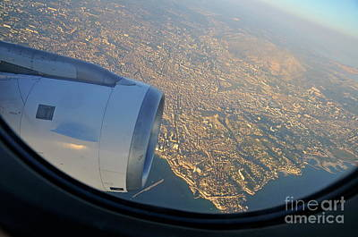 Marseille City From An Airplane Porthole Art Print by Sami Sarkis