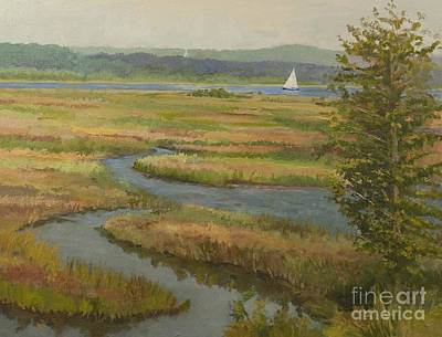Tidal Creek Painting - Marsh View by Karen Lipeika