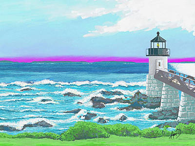 Maine Seacoast Painting - Marshal Point Light by Douglas Auld
