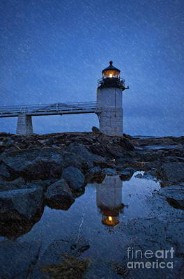 Marshall Point Lighthouse In Winter Storm. Art Print