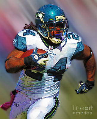 Photograph - Marshawn Lynch by Herb Paynter