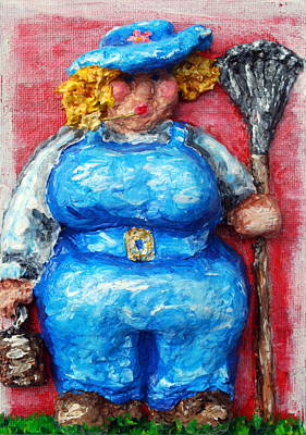 Chubbyart Relief - Martha In The Garden by Alison  Galvan