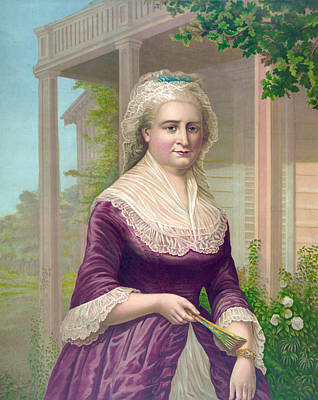 Martha Washington, Colored Lithograph Art Print by Everett