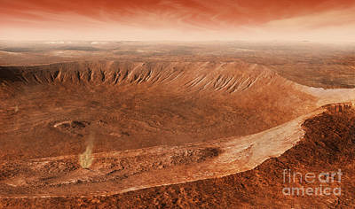 Soil Digital Art - Martian Gullies In Noachis Terra, Mars by Steven Hobbs