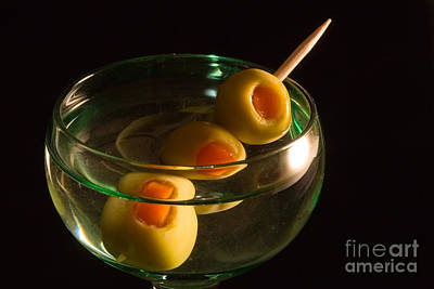 Martini Cocktail With Olives In A Green Glass Art Print