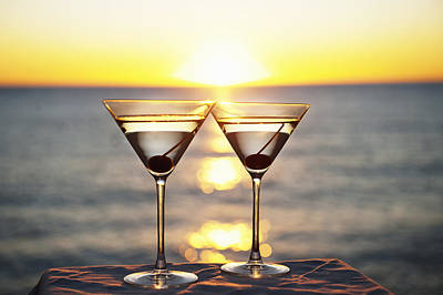 Martinis On Table Outdoors Art Print