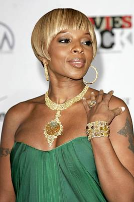Cuff Bracelet Photograph - Mary J. Blige At Arrivals For Movies by Everett