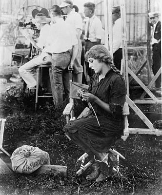 Mary Pickford On A Movie Set Knitting Art Print by Everett