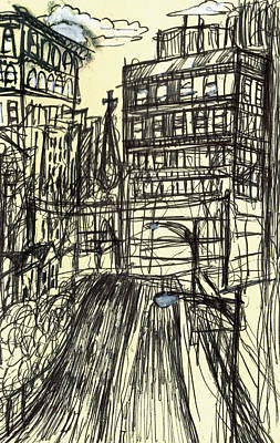 Baltimore City Drawing - Maryland Avenue by Nancy Mitchell