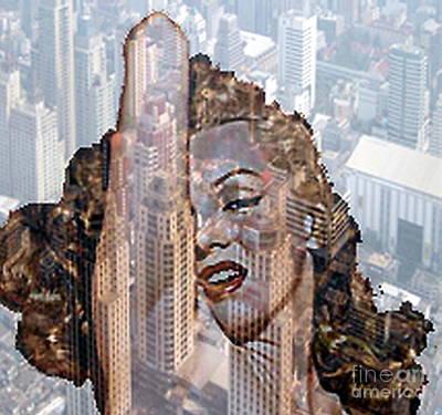 Marylin And City Art Print by Yury Bashkin