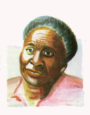 Guinee Painting - Maryse Conde by Emmanuel Baliyanga