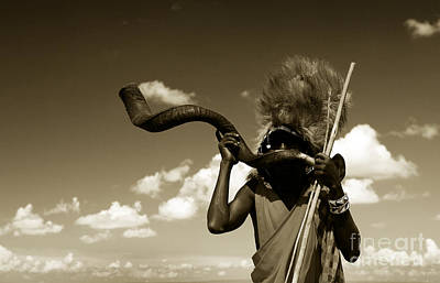 Photograph - Masai Warrior Playing Traditional Horn by Anna Om