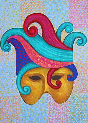 Art Print featuring the painting Mask With  Head Dress by Nareeta Martin