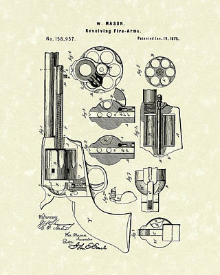 Drawing - Mason Revolving Fire-arm 1875 Patent Art by Prior Art Design