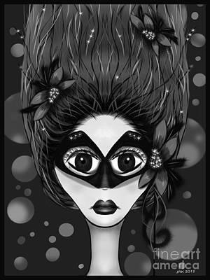 Digital Art - Masquerade Bw by J Kinion