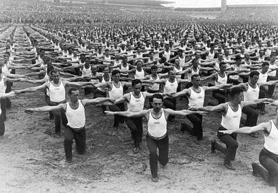 Mass Gymnastics Art Print by Archive Photos