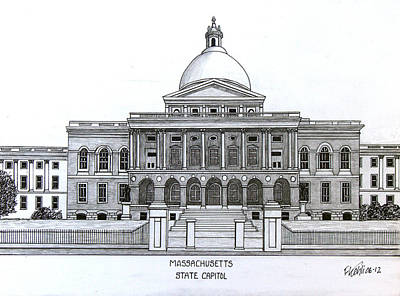 Drawing - Massachusetts State Capitol by Frederic Kohli